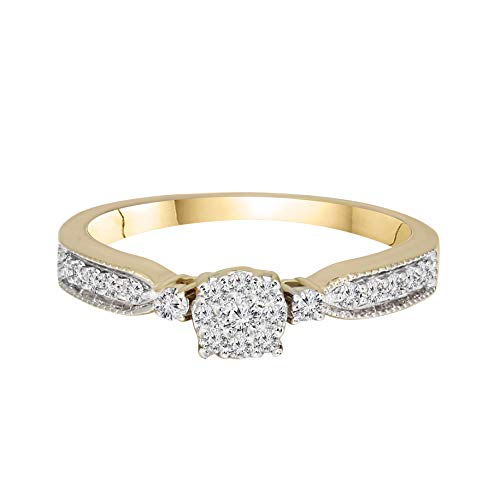 100% Pure Diamond Ring Cluster with Side Stone Diamond Ring 1/3 ct IGI Certified Lab Grown Diamond Engagement Rings For Women Rings SI1-SI2-GH 14K Real Diamond Band Rings ()
