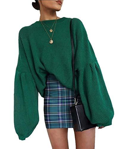 PRETTYGARDEN Women's Loose Drop Shoulder Lantern Sleeve Round Neck Fashion Pullover Sweater Tops (Green, Medium) by PRETTYGARDEN