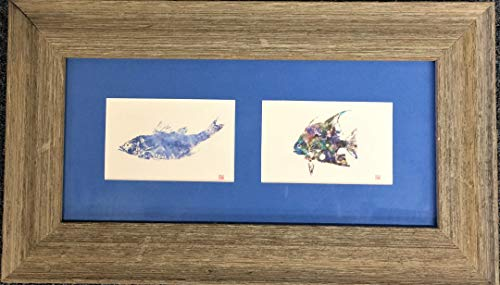 Gyotaku fish print framed in driftwood frame blue mat