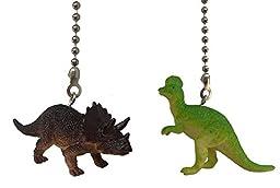 Dinosaur Ceiling Fan Pull Dino Themed Children Bedroom Decor (SET of TWO, TRICERATOPS & CORYTHOSAURUS)