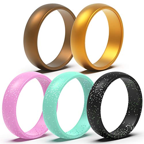 Silicone Wedding Ring for Women - 5 Packs Thin and Stackable Silicone Ring - Confortable and Skin Safe Rubber Wedding Bands for Women&Kids - Designed for U.S