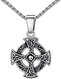 """Stainless Steel Celtic Cross Irish Knot Pendant Necklace, Unisex, 21"""" Link Chain, aap153"""