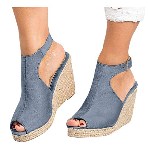 (Cenglings Wedges Sandals,Women's Fish Mouth Espadrilles Slingback Platform Sandals High Heel Ankle Strap Beach Shoes Gray)