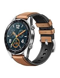 Huawei Watch GT 2018 Bluetooth SmartWatch, Ultra Delgado de Larga duración batería Vida, Compatible con iPhone y Android versión Internacional sin garantía de Acero (Correa de Piel)