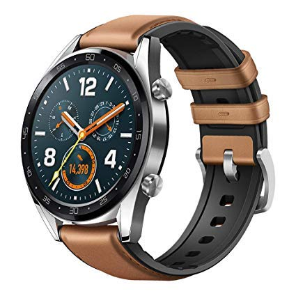 Huawei Watch GT 2018 Bluetooth SmartWatch,Ultra-Thin Longer Lasting Battery Life,Compatible with iPhone and Android International Version No Warranty-Steel (Leather Strap)