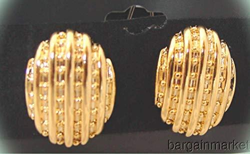 (Gold Tone Oval Basket Weave Post Pierced Earrings For Women)