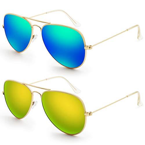Livhò G Sunglasses for Men Women Aviator Polarized Metal Mirror UV 400 Lens Protection (Blue Green + Gold Gold)