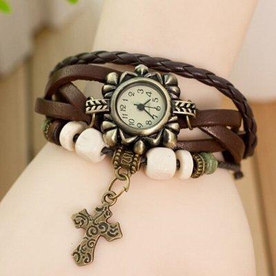 British Vintage pulsera de estilo reloj de cuarzo Mujer Piel Bead Colgante en forma de cruz Vestido Relojes pulsera relojes mujer Marrón: Amazon.es: Relojes
