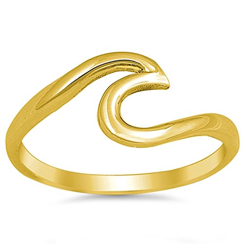 Oxford Diamond Co Yellow Gold Plated Wave Design .925 Sterling Silver Ring Size 5