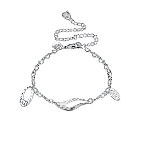 AmDxD Jewelry Silver Plated Anklets for Women Oval Hollow Irregular Graphic (Sterling Rope Boot Laces)