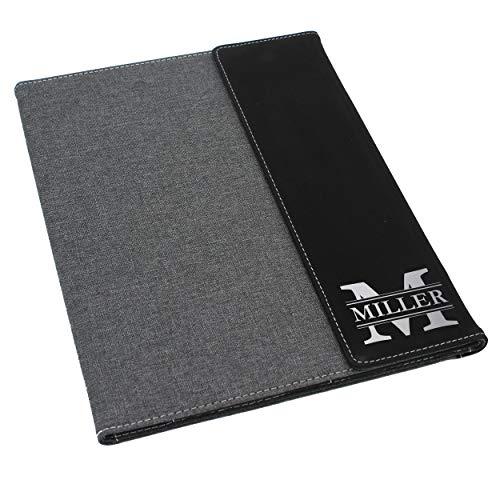 Custom Personalized Canvas Portfolio - Customized and Monogrammed Notepad, Padfolio, Business, Student, Teacher, Gift (Black Flap)]()