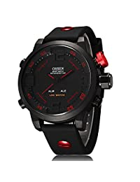 OHSEN Men Military Analog Digital Waterproof Sport Alarm Week Date Function Wrist Watches-Red