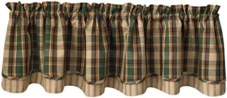 Park Designs Scotch Pine Lined Layered Valance, 72 by 16
