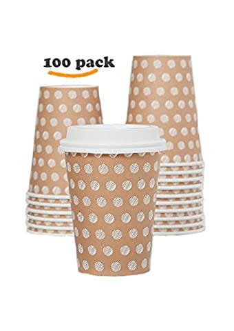 The #1 Most Stylish Disposable Paper Coffee Cups by Little Beans - 100 pack Insulated Hot Cup To Go - Quantity 100 Cups & 100 Secure Lids - Best Quality Guaranteed - 12 ounce - 10 Ounce Styrofoam Cups