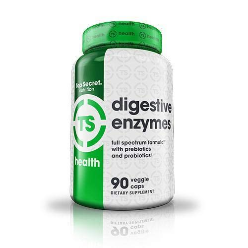 Top Secret Nutrition Digestive Enzymes with Prebiotics and Probiotics, and Bioperine for Better Digestion and Nutrient Absorption, Helps with Bloating and Gas (90 veggie ()