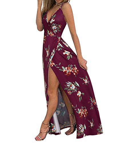 II ININ Women's Deep V-Neck Strap Casual Floral Print Maxi Split Dress(Floral09,L)