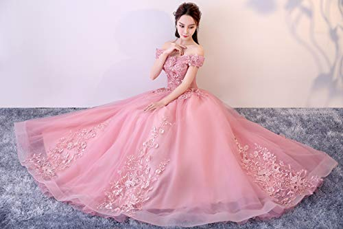 ddb0d3671d Okaybrial Women s Sweet 16 Quinceanera Dresses Blush Pink Off Shoulder Lace  Long Prom Ball Gowns Plus