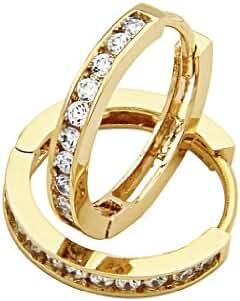 14k Gold Plated Brass 2.5mm Channel-set Hoop Huggy Earrings