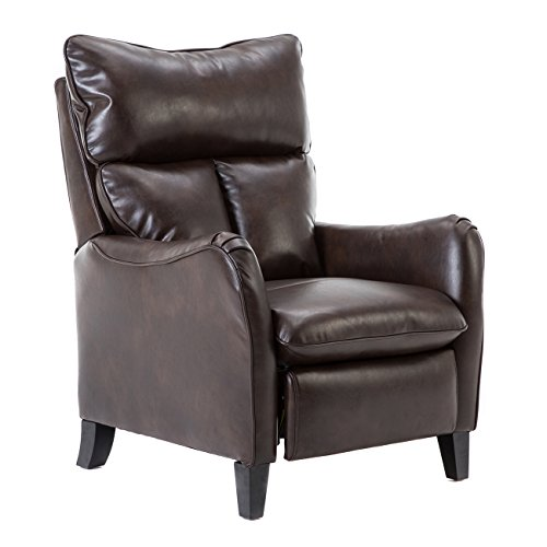 BONZY Chair Leather Manual Recliner English Roll Arm, Brown