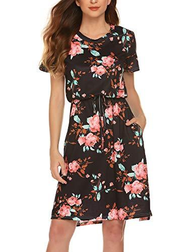 (Casual Work Dressed Women Loose Pocket Midi Dress Short Sleeve Side Split Party Dresses Black XL)
