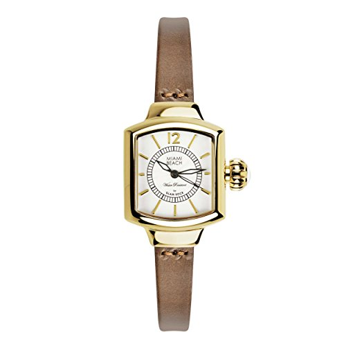 Glam Rock Miami Beach Art Deco collection MBD27232 Stainless Steel Case Brown Calfskin Mineral Women's Watch
