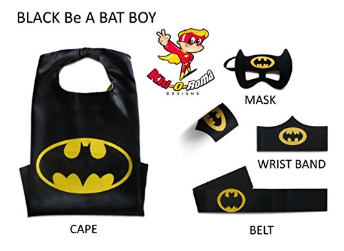 Kid-O-Roma Designs Super Hero Capes for Kids Costumes Kids Set Cape,Mask,Belt,2 Wristbands Superhero Cape & Mask Set Girl Capes & Boy Capes Pick your Package 4-10 By (Black BA Bat Boy)