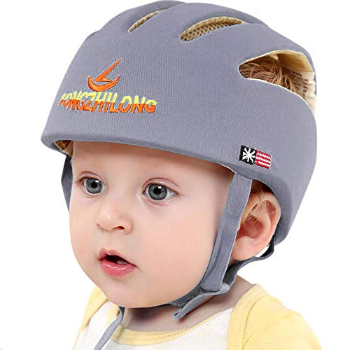 Huifen Baby Children Infant Toddler Adjustable Safety Helmet Headguard Protective Harnesses Cap Blue, Providing Safer Environment When Learning to Crawl Walk Playing Baby Infant Grey Hat (Gray)