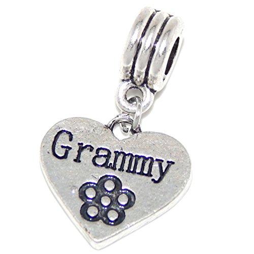 GemStorm Silver Plated Dangling Grammy Heart w/ Flower For European Snake Chain ()