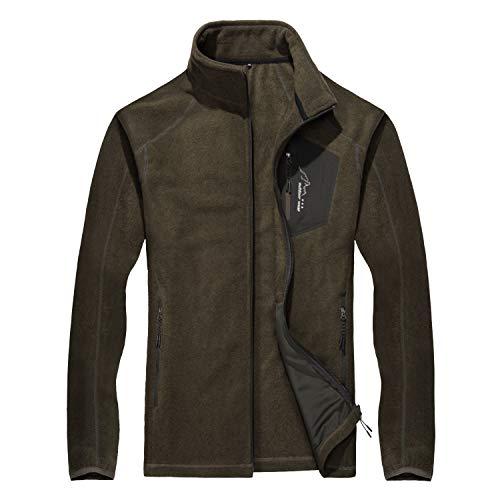 Windproof Jacket Men Fleece Jacket Warm Breathable Jacket Active Jacket Thermal Jacket Running Jacket with Pockets Sweater Jacket Coffee ()