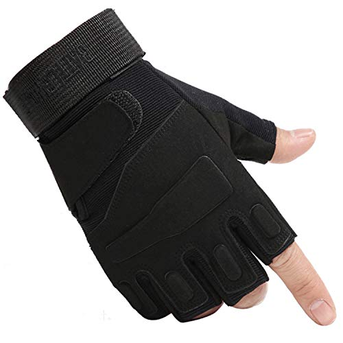 Tr Fashion Military Half Finger Fingerless Tactical Airsoft Hunting Riding Cycling Gloves (L, Black)