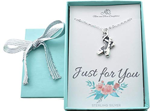 Little Girls, Girls, Teens, Woman's Ballet Slippers necklace in sterling silver on a 16