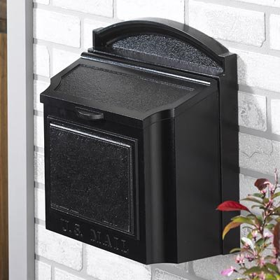 Whitehall Products Locking Wall Mounted Large Mailbox, Black (Wall Black Mailbox)