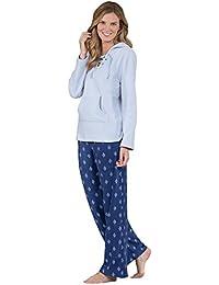 Long Sleeve Stretch Fleece Casual Womens Pajama Set - Hood, Blue