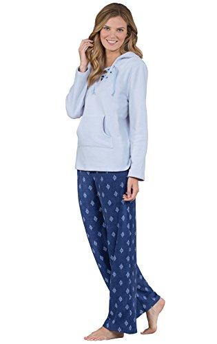 Addison Meadow Stretch Fleece Casual Womens Pajama Set, Blue, Large / 12-14