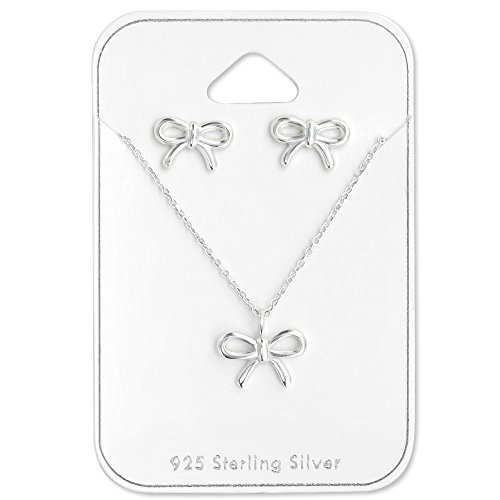 925 Sterling Silver Bow Necklace & Bow Stud Earrings Set 28936 (Silver Bow Necklace)