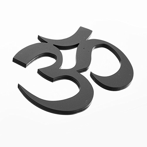 Stainless Steel AUM Om Metal Decorative Emblem Decal Ornament Crest Blasted, Mirror Polished, or Black 5