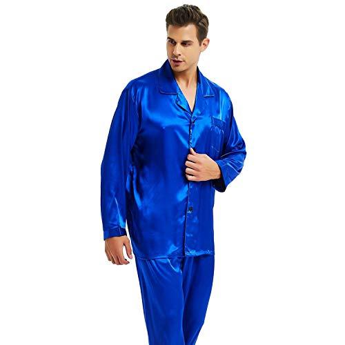 - Mens Silk Satin Pajamas Set Sleepwear Loungewear Invy XL Royal Blue