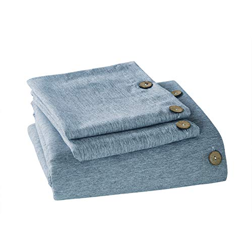 MUKKA Duvet Cover Queen Microfiber Button Blue Heather, Linen Like Chambray Modern Style Coconut Button Closure Duvet Cover Soft Luxury & Breathable Easy Care (Duvet Queen Blue Cover)