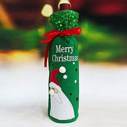 Telas de tela Botella de vino Bolsas Decoraciones navideñas Regalos Champán Lentejuelas Titulares para Navidad Cena en casa Fiesta Decoraciones de mesa, Papá Noel verde: Amazon.es: Hogar