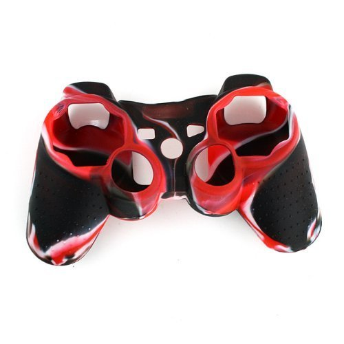 High Quality Premium Super Grip Glow Black Red with White with White Silicon Protective Skin Case Cover for Sony Playstation Ps3 Remote Controller