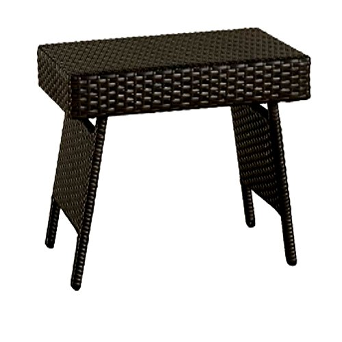 Wicker Finish (Patio Dinning Table Clearance, End/Accent Outdoor Bedside Furniture for Living Room, Small Contemporary Side Wicker Finish Foldable Table & E-Book)
