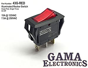 Amazon.com: Red Illuminated Off-On Rocker Switch 15A@125V 7.5A@250V