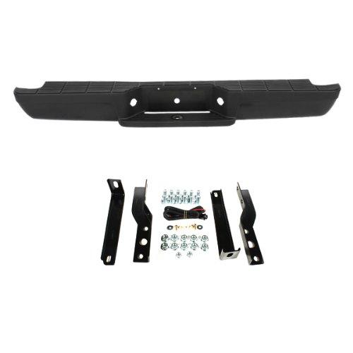- CarPartsDepot 364-18119-20-BK BLACK REAR STEP BUMPER+PAD+BRACKET COMPLETE ASSEMBLY FO1102257