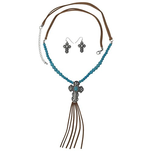 - Gypsy Jewels Long Faux Suede Tassel Fringe Western Style Necklace & Earrings Set - Assorted Styles (Imitation Turquoise Cross)