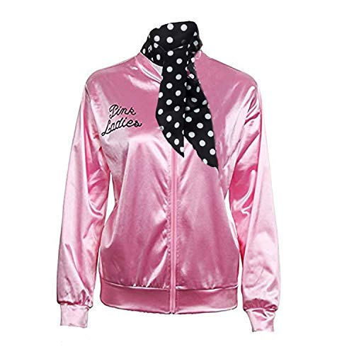 Pink Ladies Jacket 50S T Bird Danny Pink Satin Jacket Halloween Costume Neck Scarf (XX-Large) -