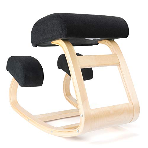 Ergonomic Kneeling Chair | Balans Posture Correcting Wooden Stool for Office & Home | Back Support,Rocking Kneel Seat with Orthopedic Soft Knee Cushions (Light Wood)