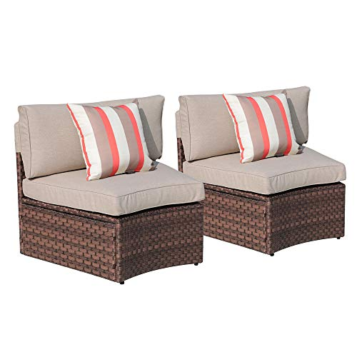 SUNSITT Outdoor 2-Piece Half-Moon Sectional All Weather Woven Sectional Set (Seating Patio Curved)