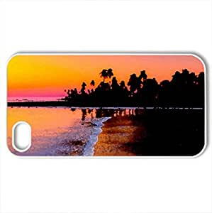 magnificent sunset in paradise - Case Cover for iPhone 4 and 4s (Sunsets Series, Watercolor style, White)