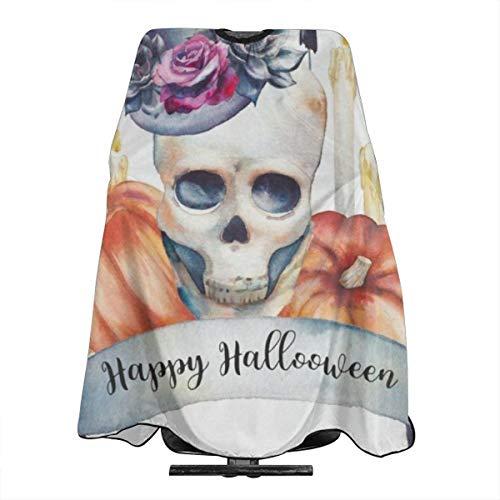 Happy Halloween Skull Pumpkin Ghost Barber Salon Cape Apron Makeup Comb Out Cape Bib, Salon Hair Dye, Shampoo, Chemical Waterproof Gown Cloth for Adult/Women/Men -