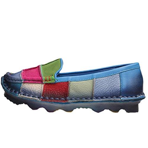 Vogstyle Damer Kontrast Farve Runde Snørebånd Komfortable Tøffel Pæne Og Bløde Lædersko Art 1 Blå wbk3qEa